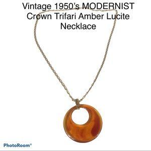 VTG Crown Trifari Amber Lucite Pendant Modernist